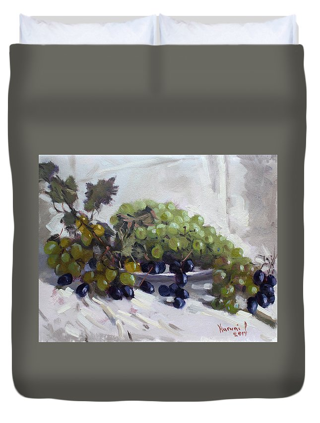 Greek Grapes Duvet Cover featuring the painting Greek Grapes by Ylli Haruni