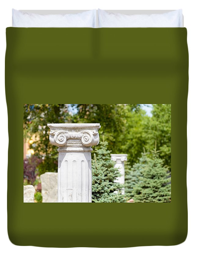 Greece Duvet Cover featuring the photograph Greek Ionic Columns by Alain De Maximy
