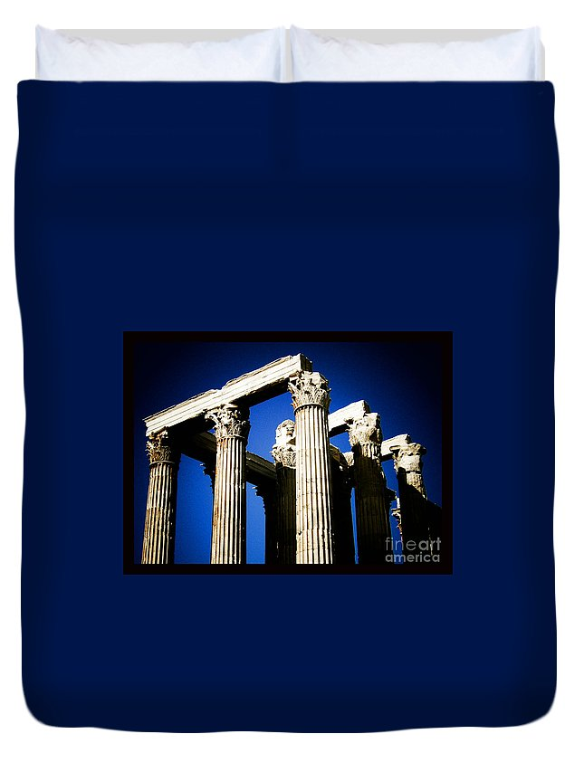 Greek Duvet Cover featuring the photograph Greek Pillars by Sonal Dave