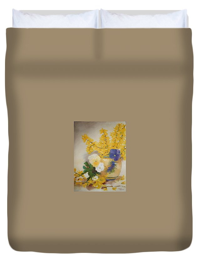 Still Life Duvet Cover featuring the painting Greek Vase by Sandra Bourret
