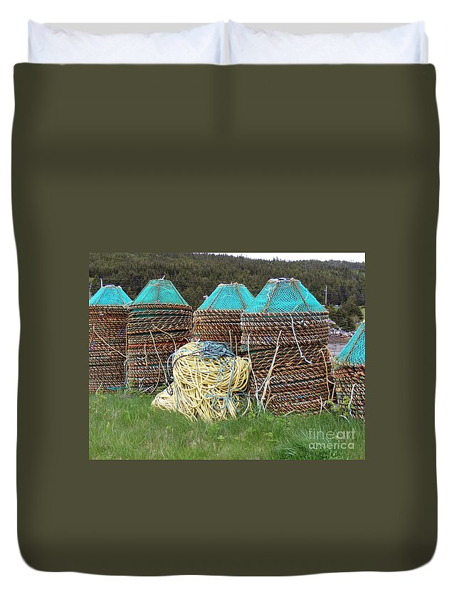 East Coast Crab Pots Duvet Cover featuring the photograph Green - Crab Pots by Barbara Griffin