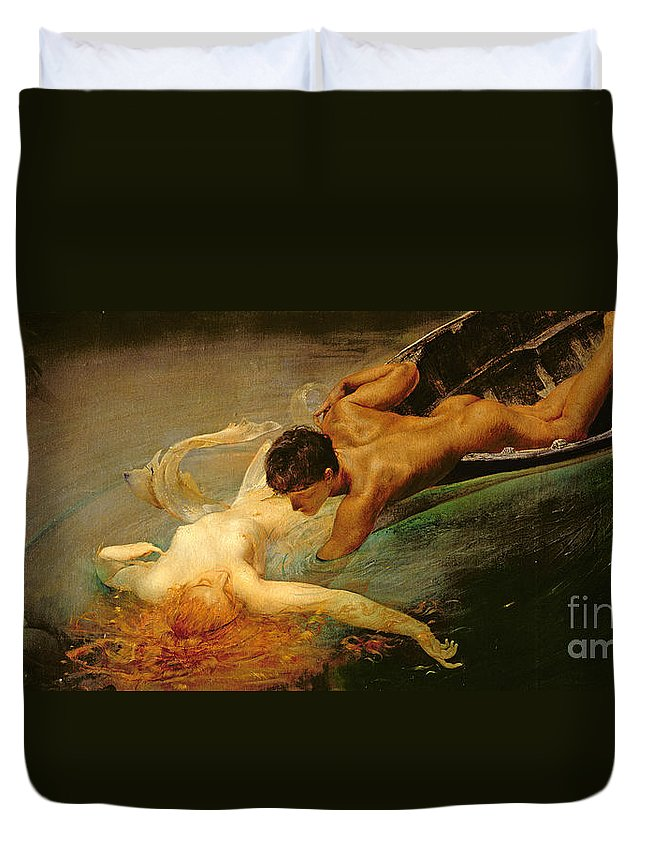 Green Abyss Duvet Cover featuring the painting Green Abyss by Giulio Aristide Sartorio