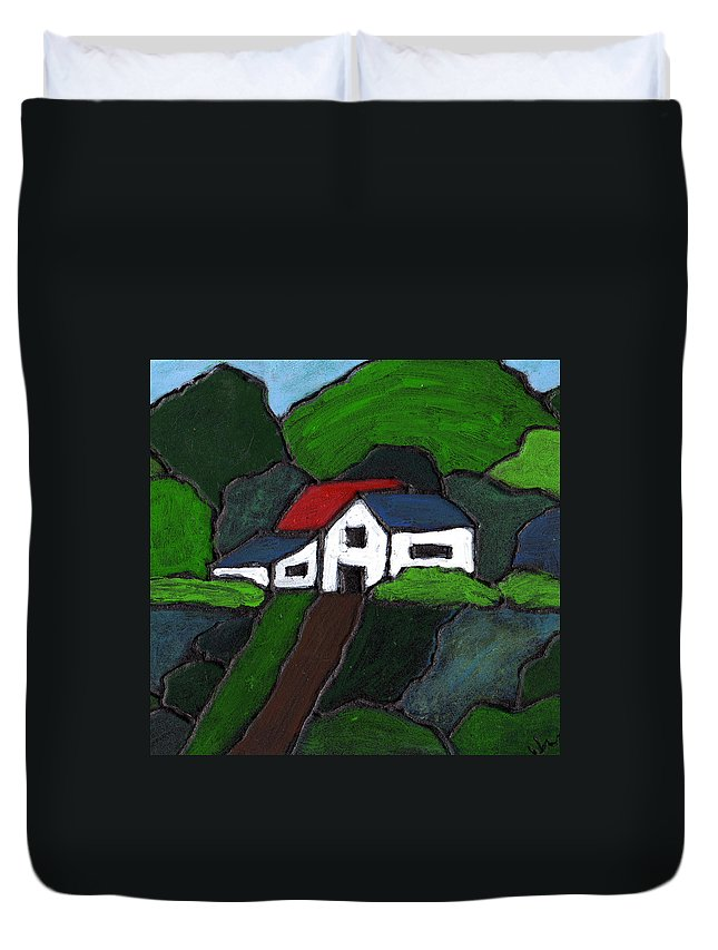 Rural Duvet Cover featuring the painting Green Acres by Wayne Potrafka