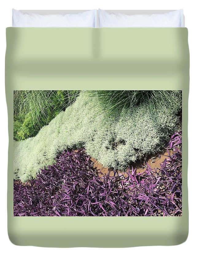 Floral Duvet Cover featuring the photograph Green And Purple by Carina Garcia