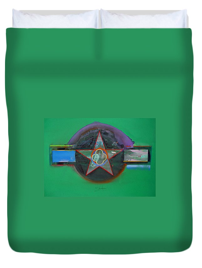 Star Duvet Cover featuring the painting Green And Violet by Charles Stuart
