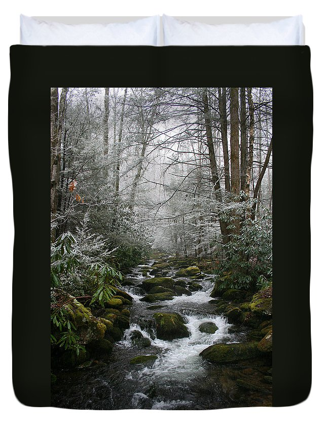 Green Snow Tree Trees Winter Stream River Creek Water Stone Rock Flow Boulder Forest Woods Cold Duvet Cover featuring the photograph Green And White by Andrei Shliakhau