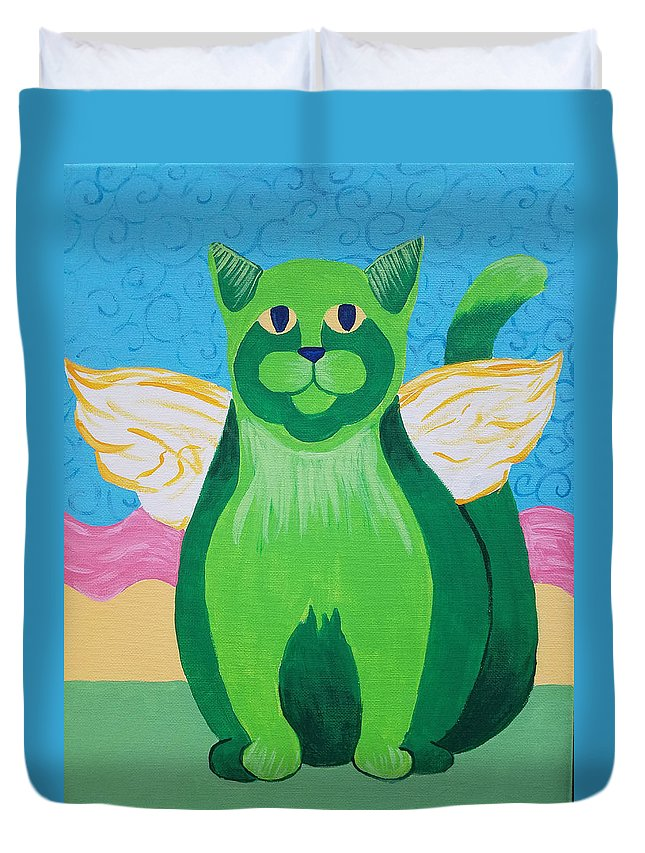 Angel Duvet Cover featuring the painting Green Angel Cat by Johnny McNabb
