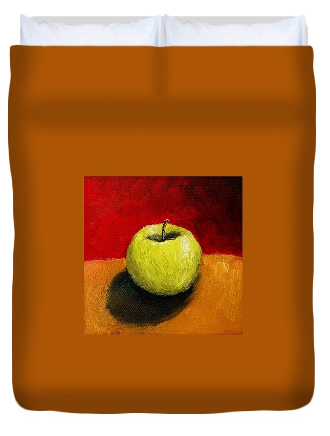 Apple Duvet Cover featuring the painting Green Apple with Red and Gold by Michelle Calkins