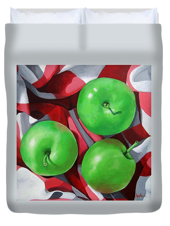 Apples Duvet Cover featuring the painting Green Apples still life painting by Linda Apple