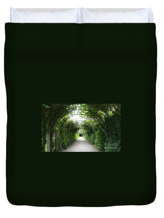 Arbor Duvet Cover featuring the photograph Green Arbor Of Mirabell Garden by Carol Groenen