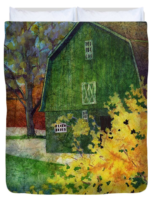 Barn Duvet Cover featuring the painting Green Barn by Hailey E Herrera