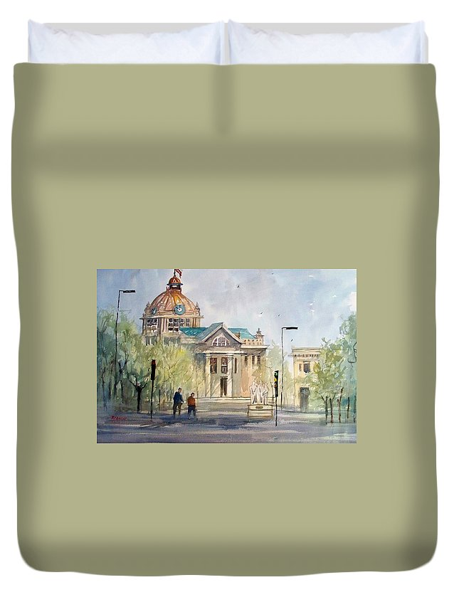 Watercolor Duvet Cover featuring the painting Green Bay Courthouse by Ryan Radke