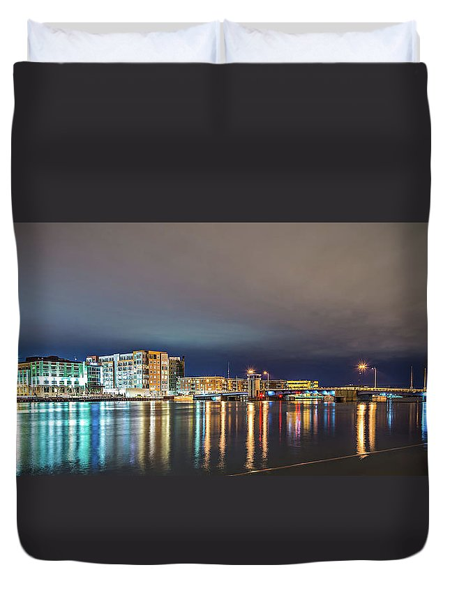 Green Duvet Cover featuring the photograph Green Bay Wisconsin City Skyline At Night by Alex Grichenko