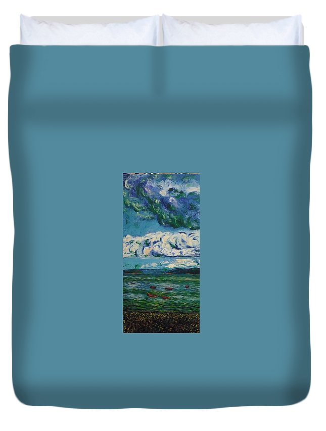 Landscape Duvet Cover featuring the painting Green Beach by Ericka Herazo