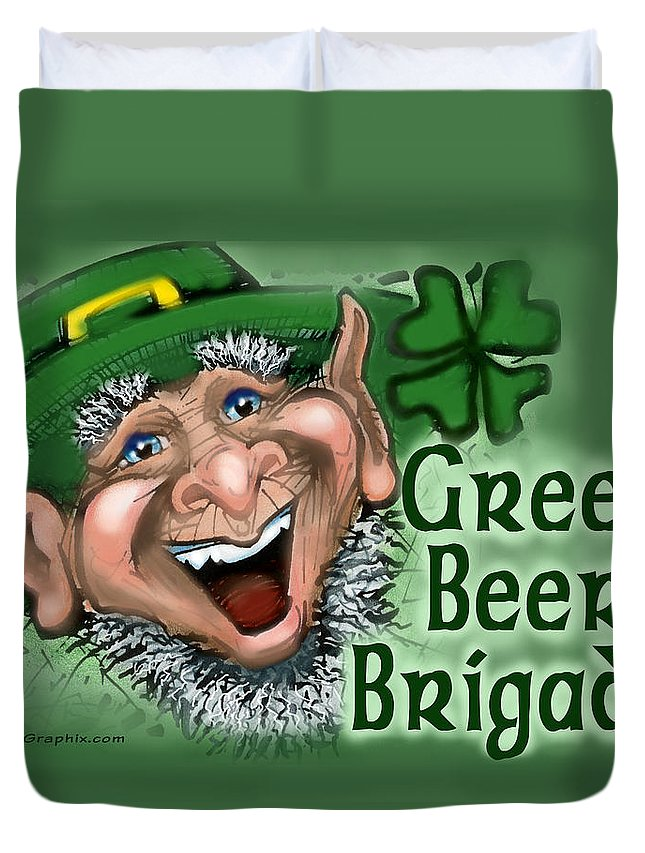 Green Beer Duvet Cover featuring the greeting card Green Beer Brigade by Kevin Middleton