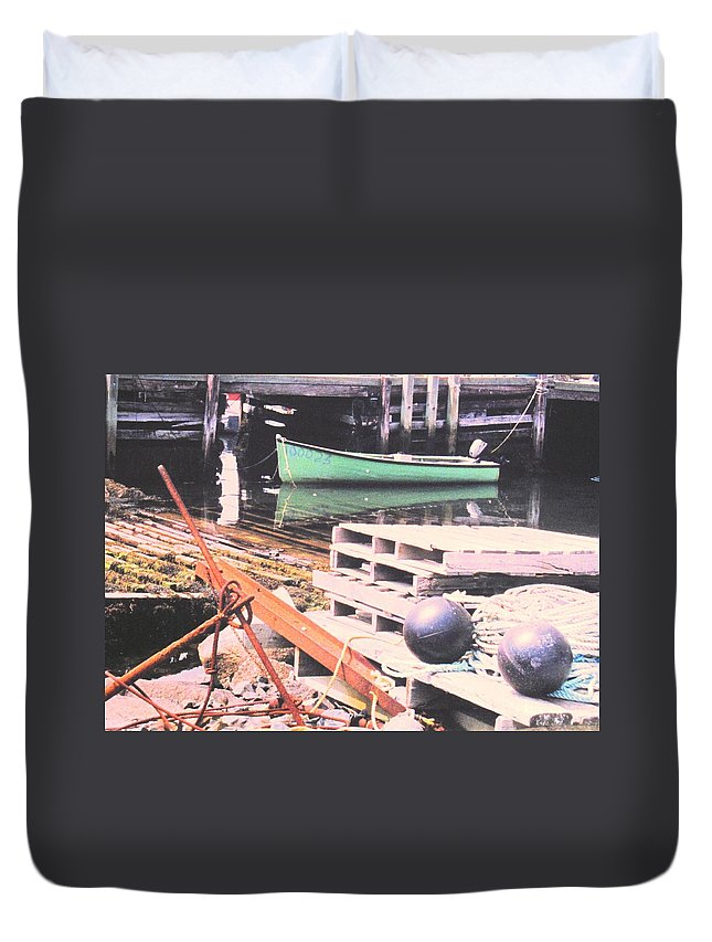 Green Duvet Cover featuring the photograph Green Boat by Ian MacDonald