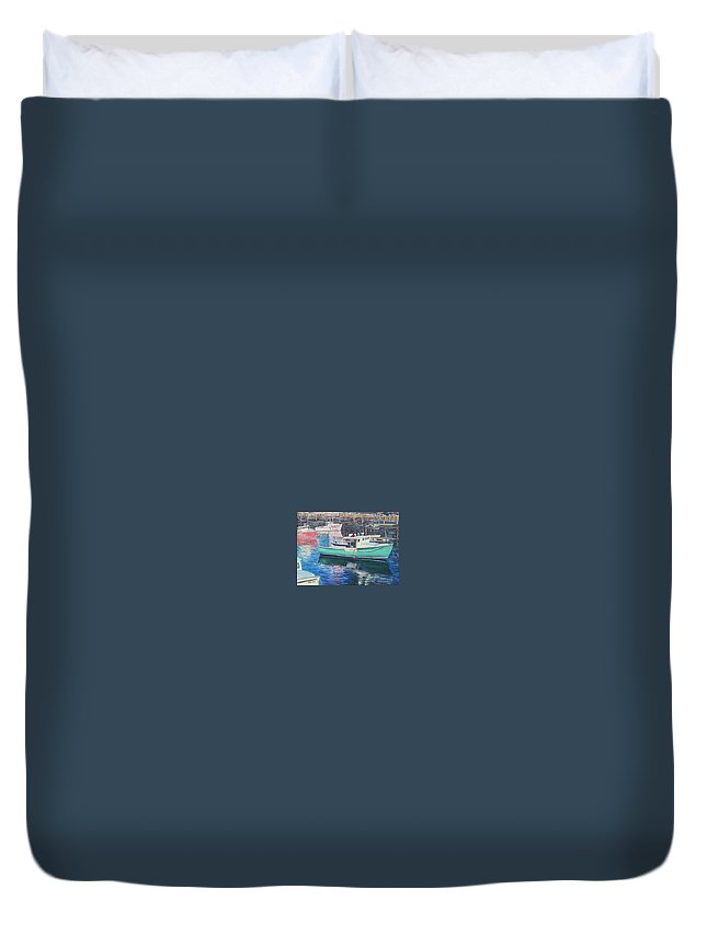 Water Duvet Cover featuring the painting Green Boat Reflections by Richard Nowak