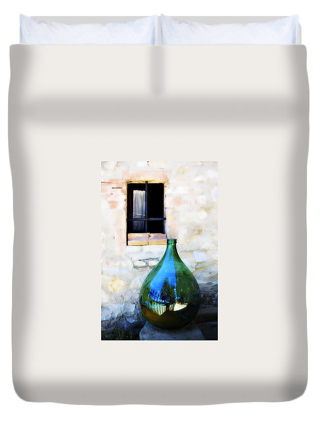 Bottle Duvet Cover featuring the photograph Green Bottle Italian Window by Marilyn Hunt