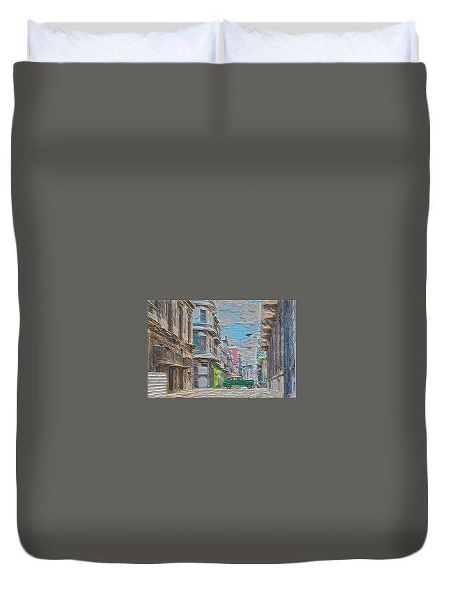 Cuba Duvet Cover featuring the digital art Green Car In Cuba by David Frigerio