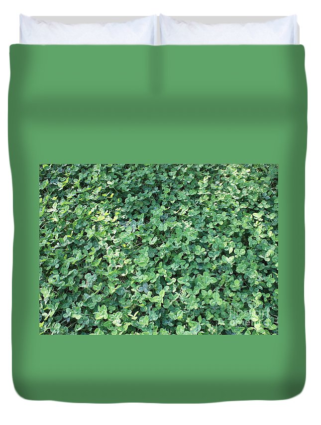 Green Clovers Duvet Cover featuring the photograph Green Clovers by Carol Groenen