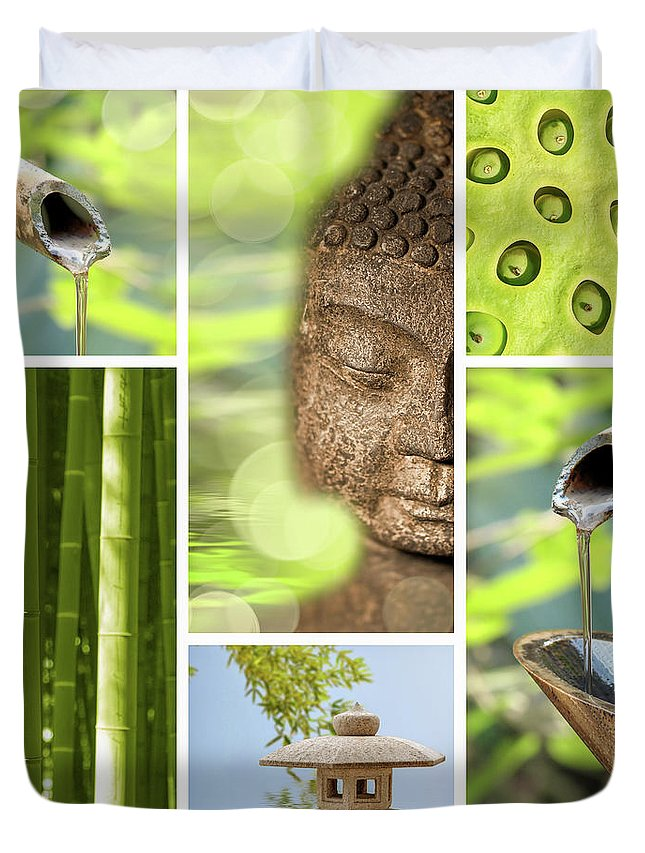 Buddha Duvet Cover featuring the photograph Green Collage by Delphimages Photo Creations