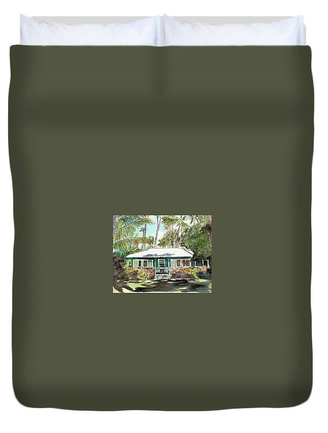 Cottage Duvet Cover featuring the painting Green Cottage by Marionette Taboniar