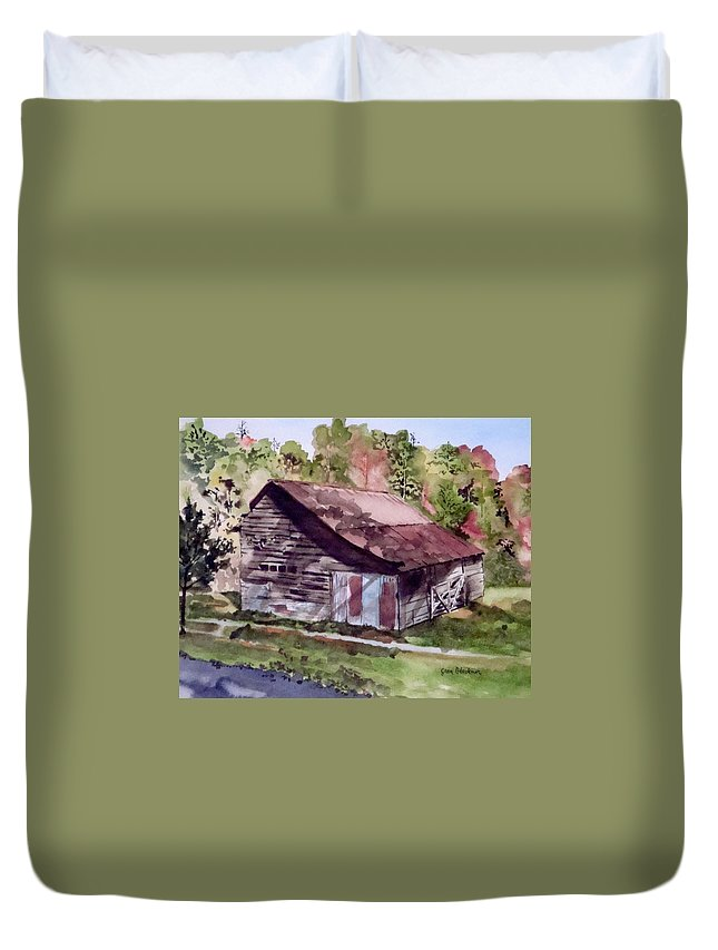 Barns Duvet Cover featuring the painting Green Creek Barn by Jean Blackmer