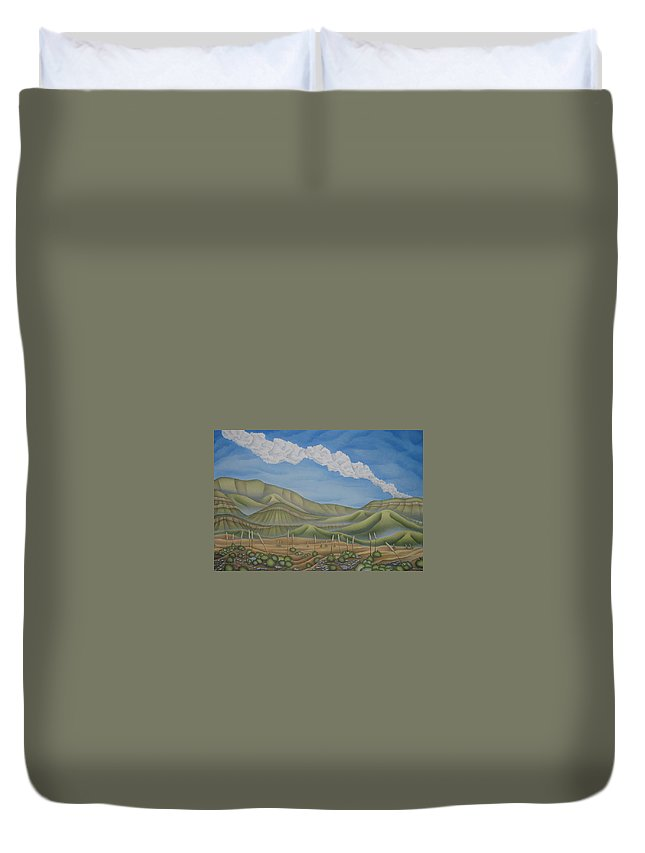 Landscape Duvet Cover featuring the painting Green Desert by Jeniffer Stapher-Thomas
