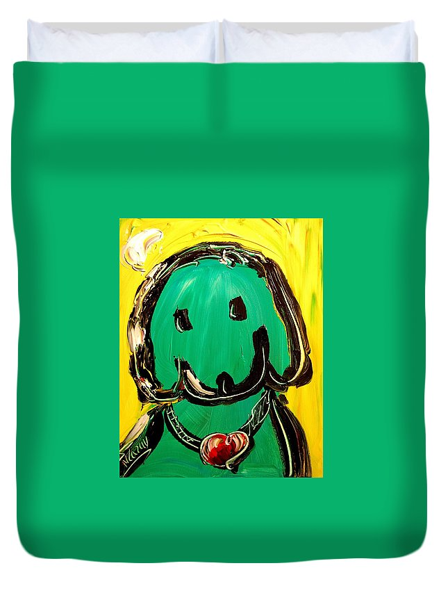 New York Duvet Cover featuring the painting Green Dog by Mark Kazav