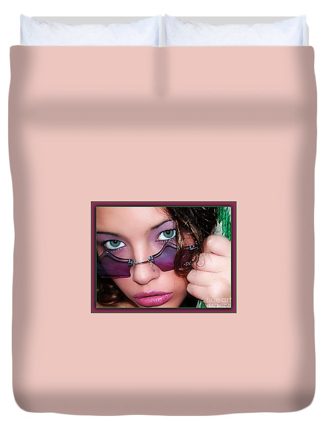 Clay Duvet Cover featuring the photograph Green Eye'd Girl by Clayton Bruster