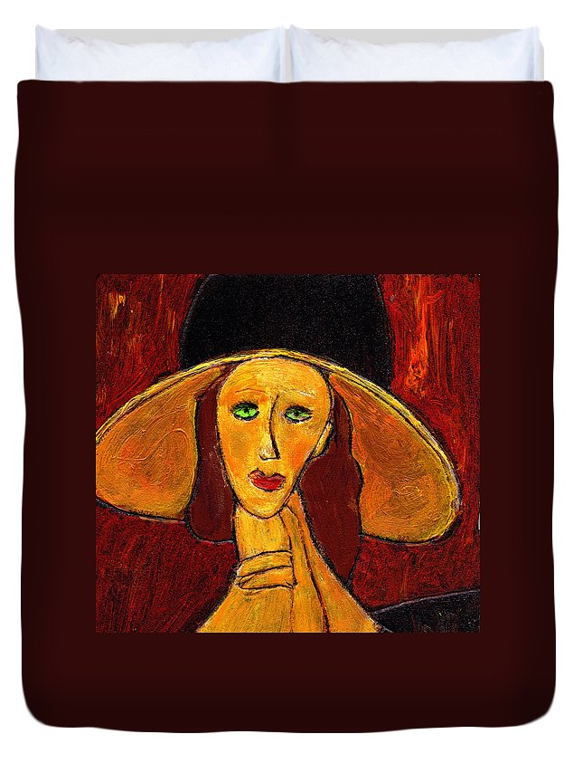 Hat Duvet Cover featuring the painting Green Eyes by Wayne Potrafka