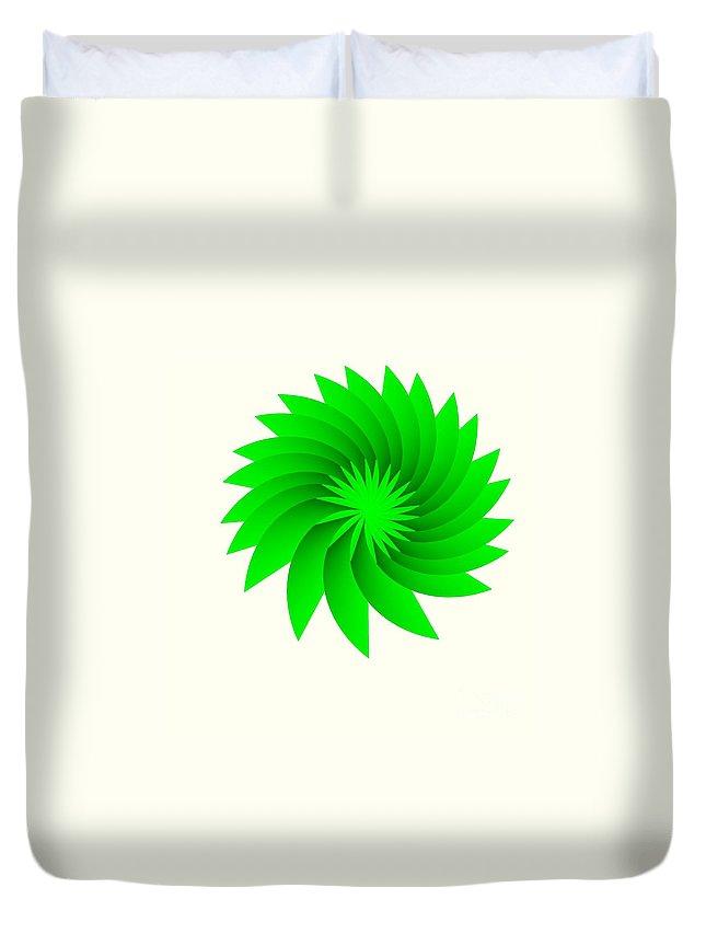 Green Flower Duvet Cover featuring the digital art Green Flower by Michael Skinner