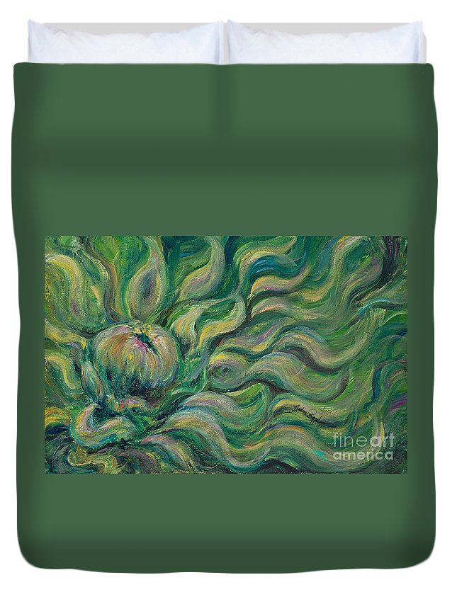 Green Duvet Cover featuring the painting Green Flowing Flower by Nadine Rippelmeyer
