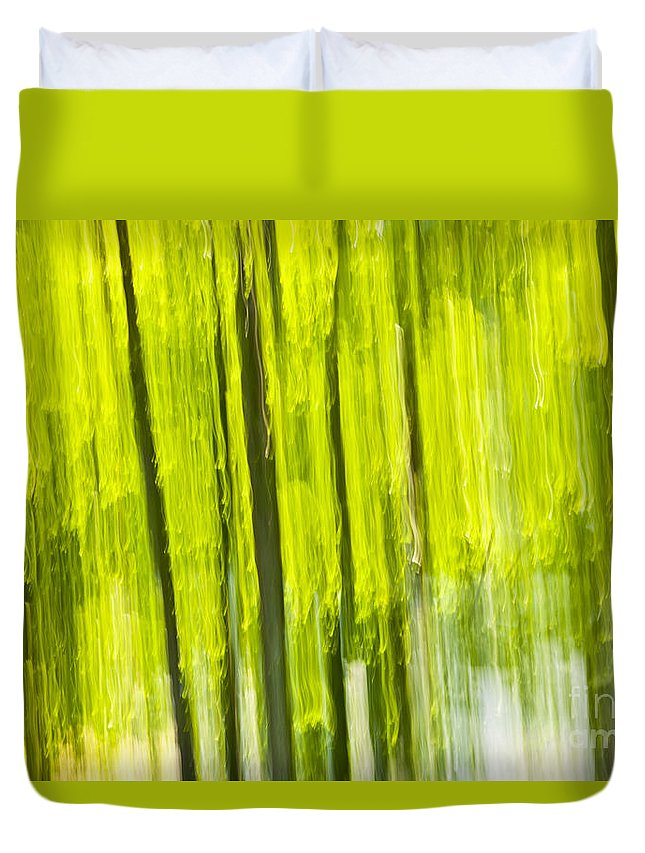 Abstract Duvet Cover featuring the photograph Green Forest Abstract by Elena Elisseeva