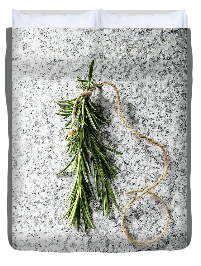 Herb Duvet Cover featuring the photograph Green Fresh Rosemary On Granite Background by Piotr Marcinski