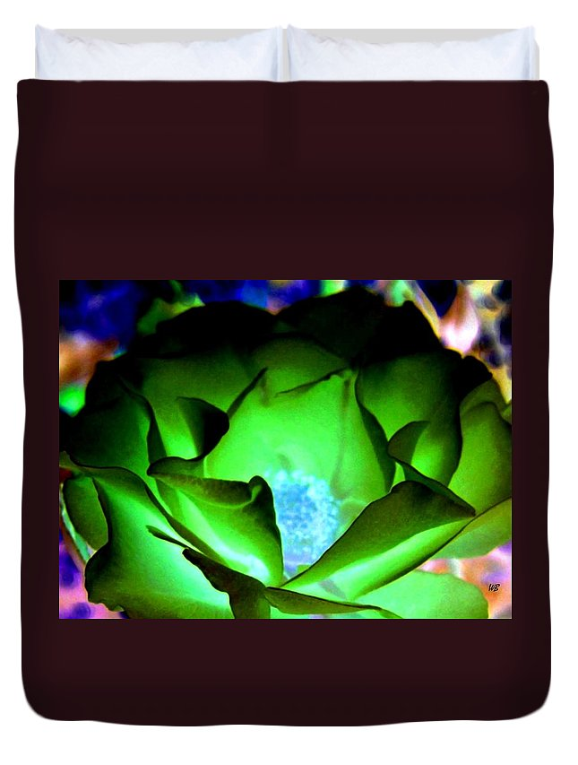 Rose Duvet Cover featuring the digital art Green Glow by Will Borden