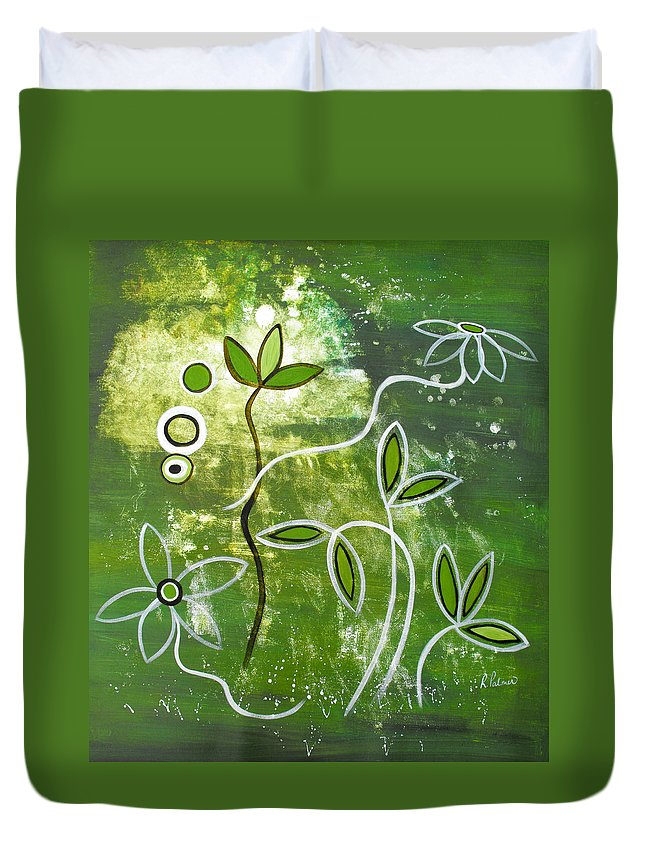 Abstract Duvet Cover featuring the painting Green Growth by Ruth Palmer
