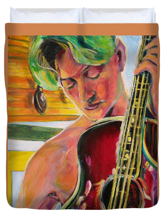 Boy Duvet Cover featuring the painting Green Hair Red Bass by Dennis Tawes