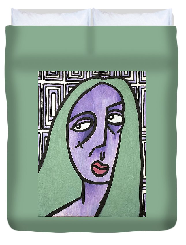Clay Duvet Cover featuring the painting Green Hair by Thomas Valentine