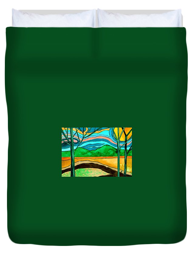 Watercolor Duvet Cover featuring the painting Green Hill Country by Brenda Owen