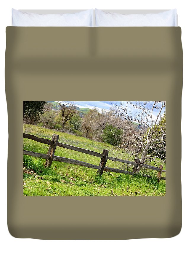 Landscape Duvet Cover featuring the photograph Green Hills And Rustic Fence by Carol Groenen