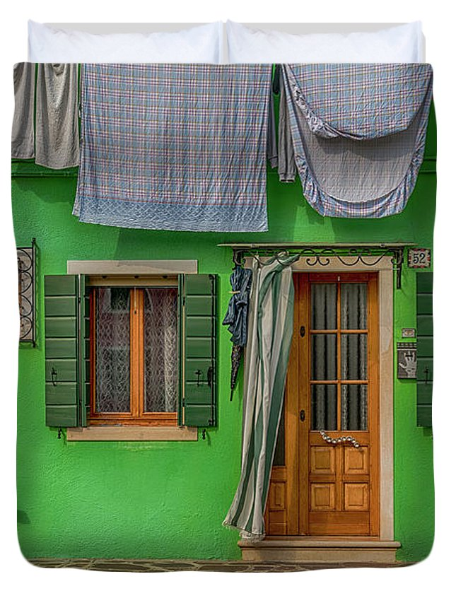 Burano Duvet Cover featuring the photograph Green House And Hanging Wash_dsc5111_03042017 by Greg Kluempers