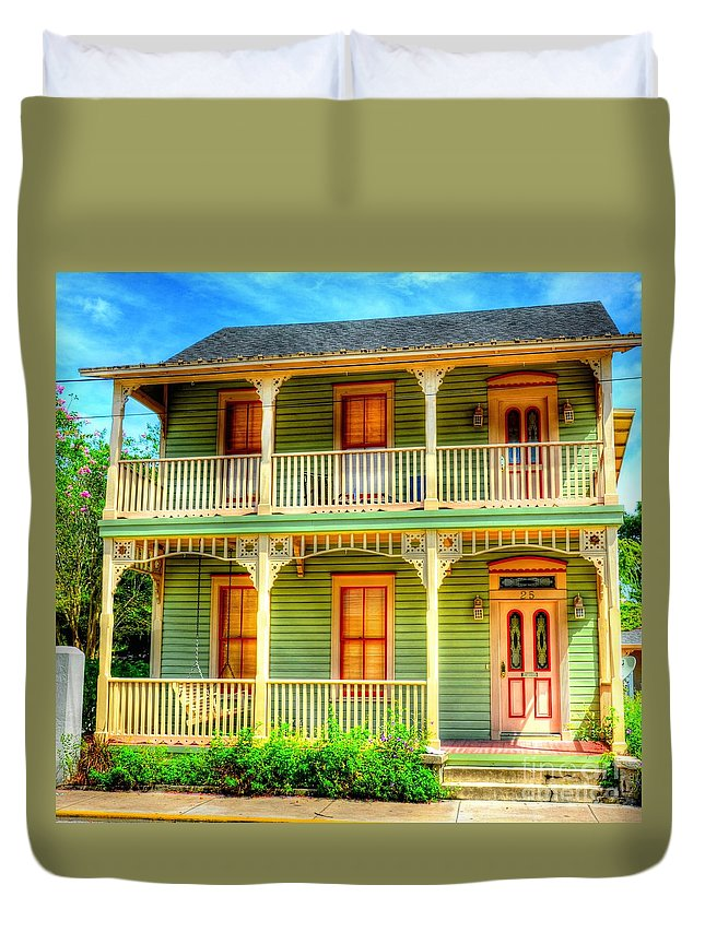 House Duvet Cover featuring the photograph Green House by Debbi Granruth