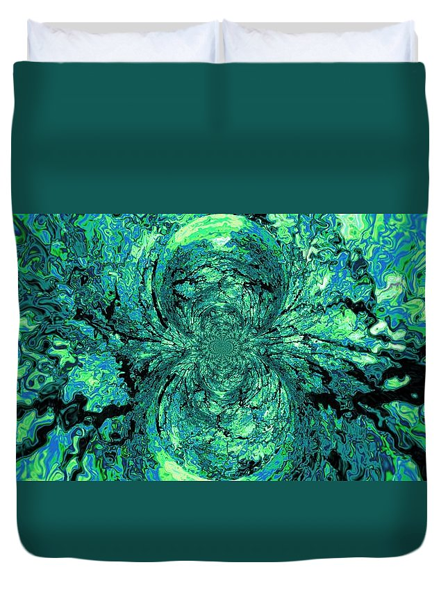 Green Duvet Cover featuring the digital art Green Irrevelance by Charleen Treasures