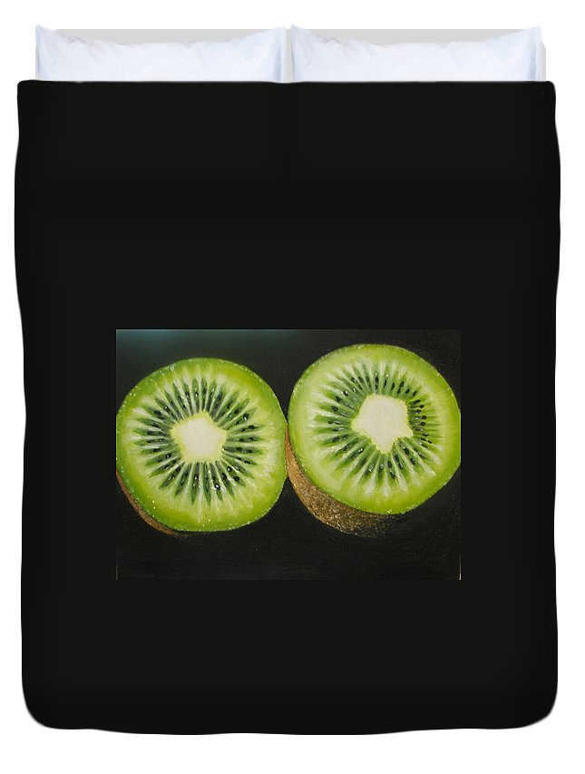 Kiwi Duvet Cover featuring the painting Green Kiwi Oil Painting by Natalja Picugina