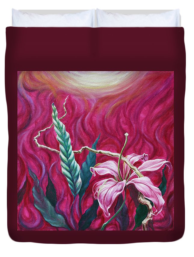 Duvet Cover featuring the painting Green Leaf by Jennifer McDuffie