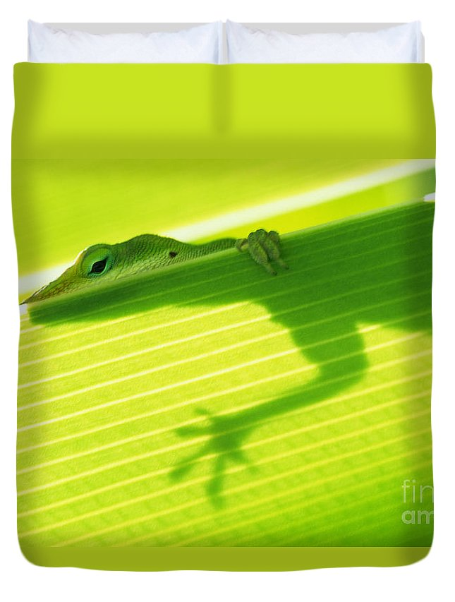 76-csw0115 Duvet Cover featuring the photograph Green Lizard by Bill Brennan - Printscapes
