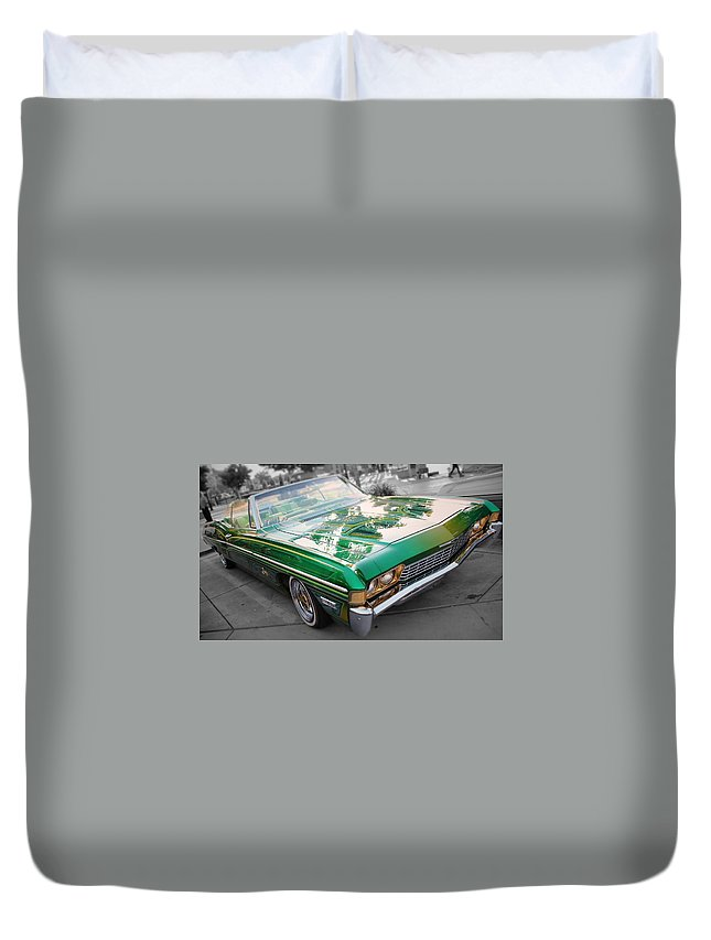Low Rider Duvet Cover featuring the photograph Green Low Rider by Jesse Sanchez