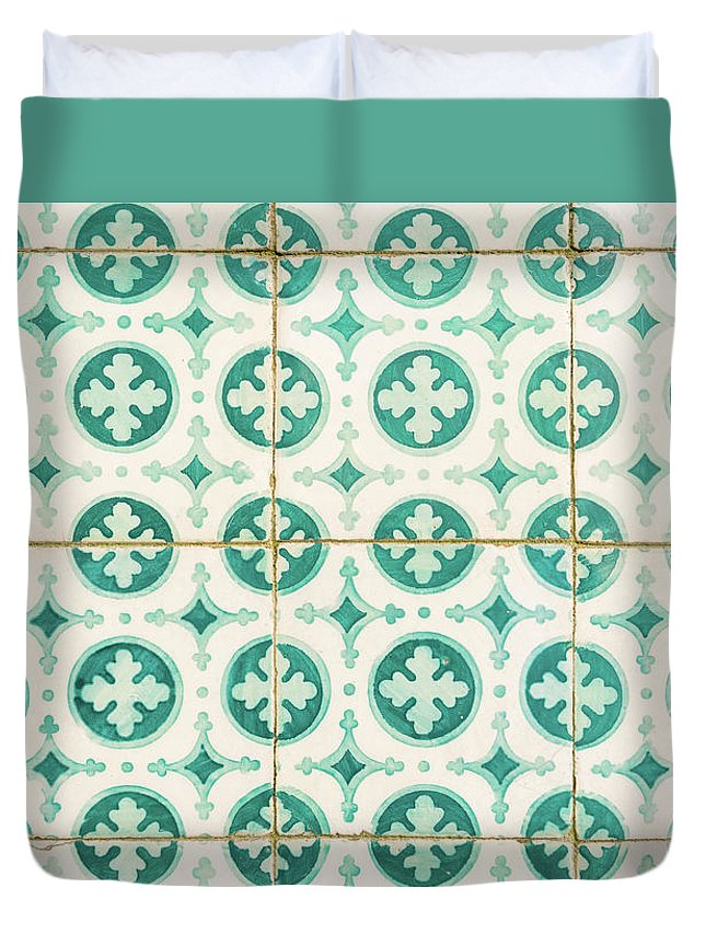 Lisbon Souvenirs Duvet Cover featuring the photograph Green Lucky Charm Lisbon Tiles by For Ninety One Days