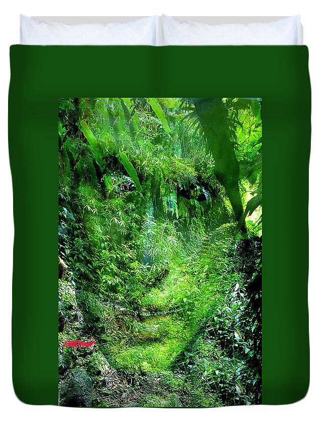 Nature Duvet Cover featuring the digital art Green Man by Seth Weaver
